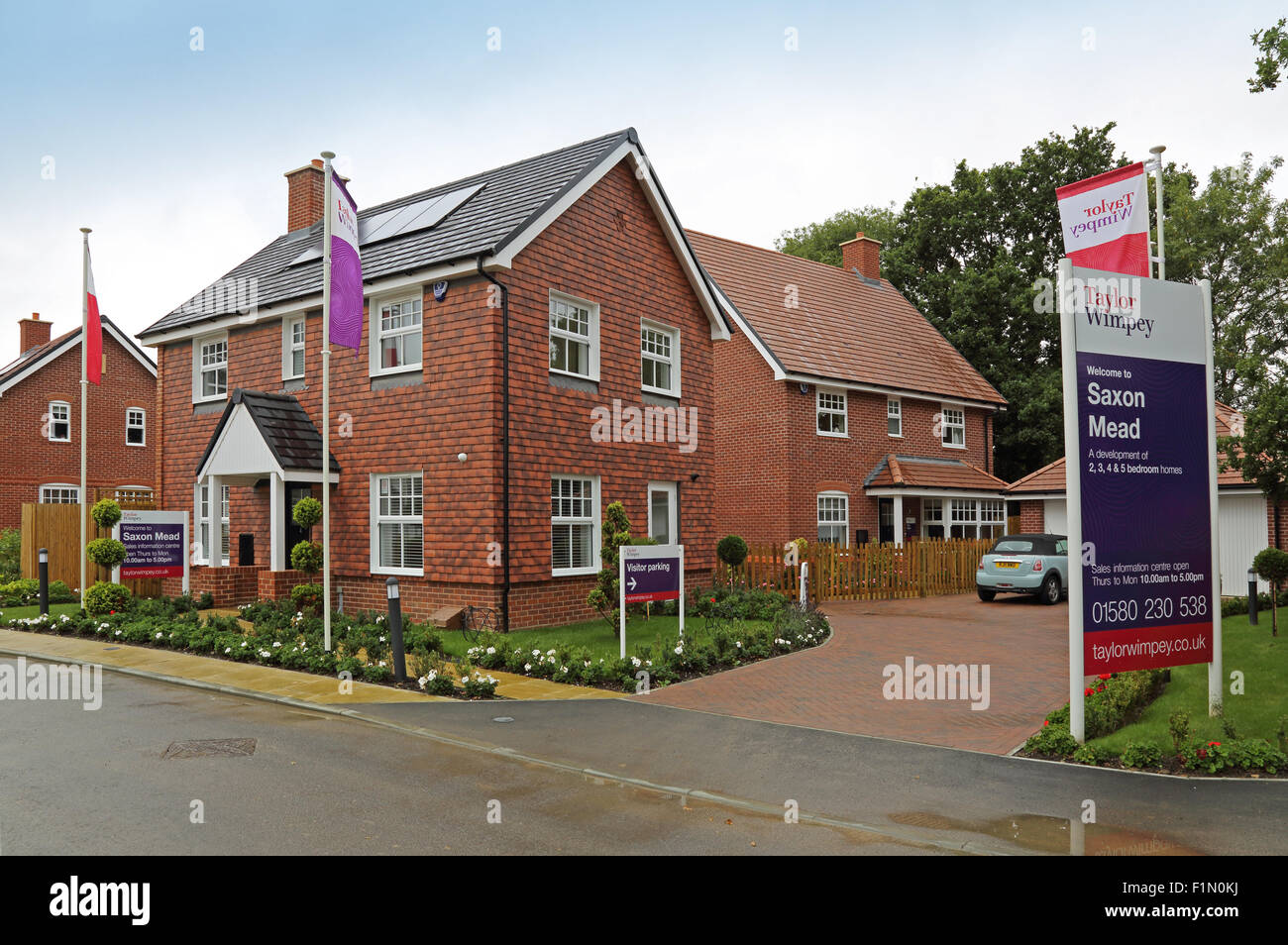 Show homes on a new Taylor Wimpey residential development in Kent, UK - Stock Image