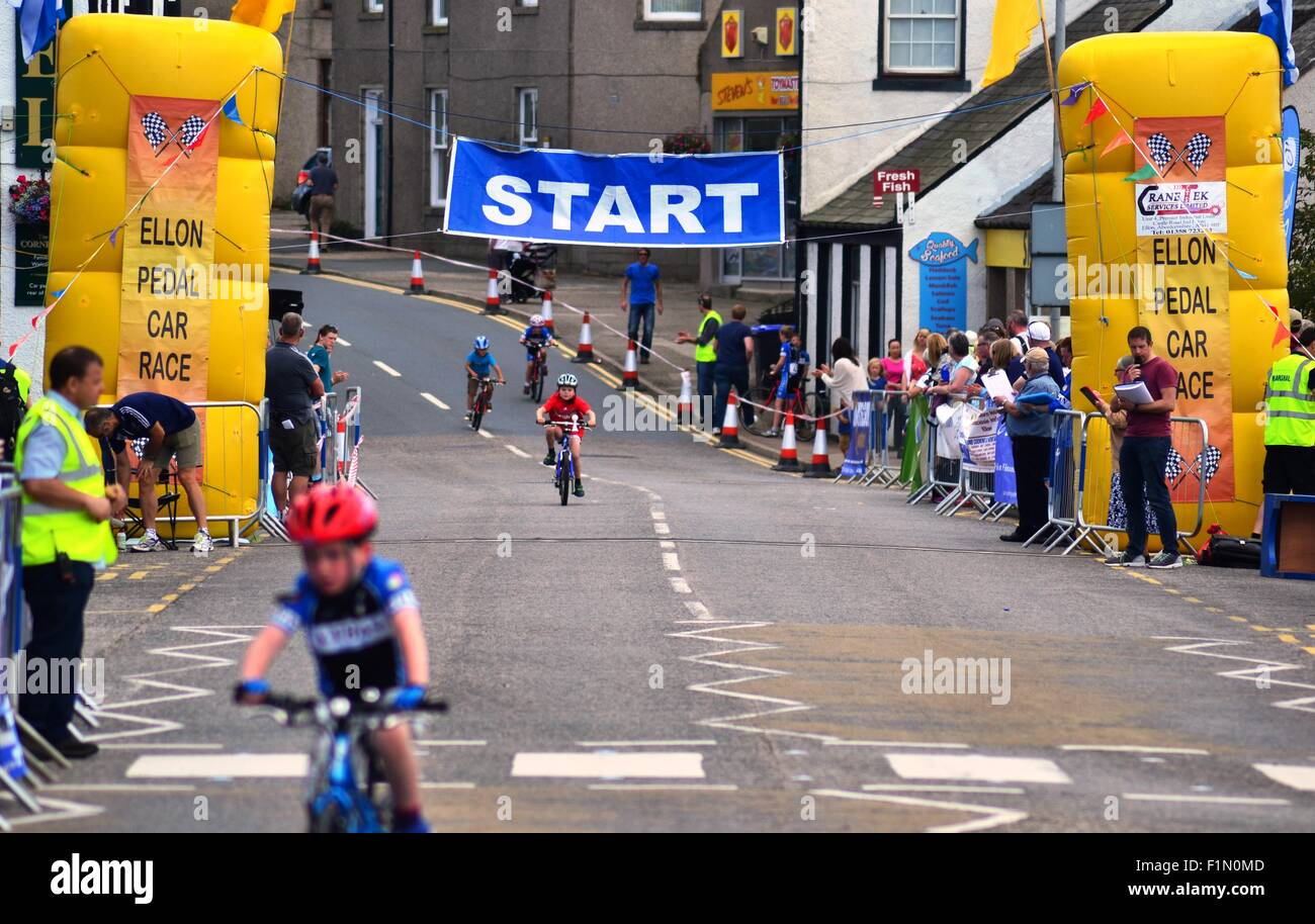 The Criterium Cycle Race in Ellon, Aberdeenshire Stock Photo
