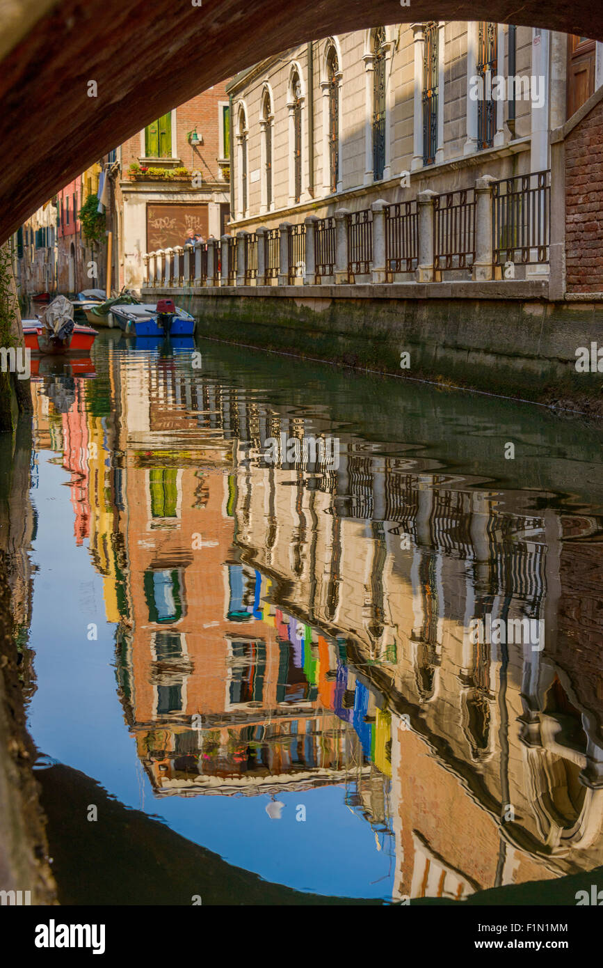 Reflection in Venice canal - Stock Image