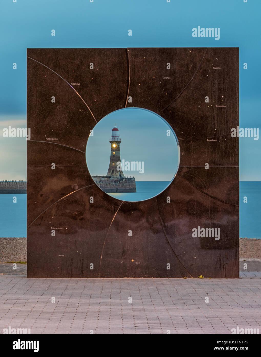 Roker lighthouse in Sunderland Stock Photo
