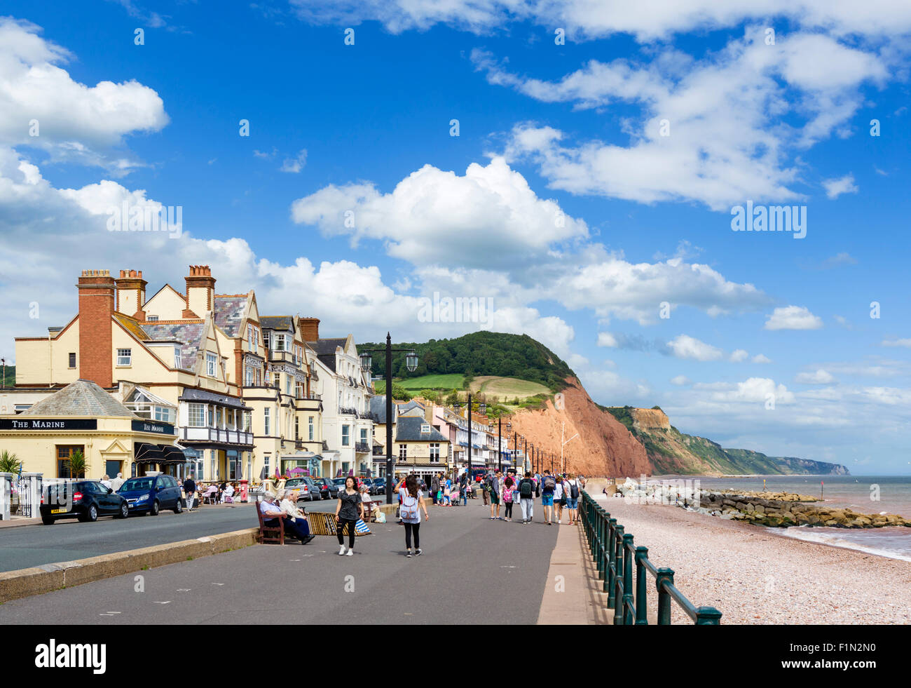 The Esplanade and beach in Sidmouth, Devon, England, UK - Stock Image