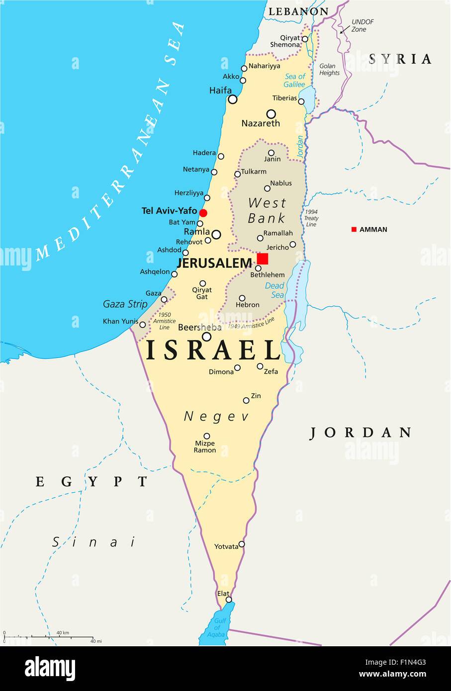 Israel political map with capital Jerusalem national borders Stock