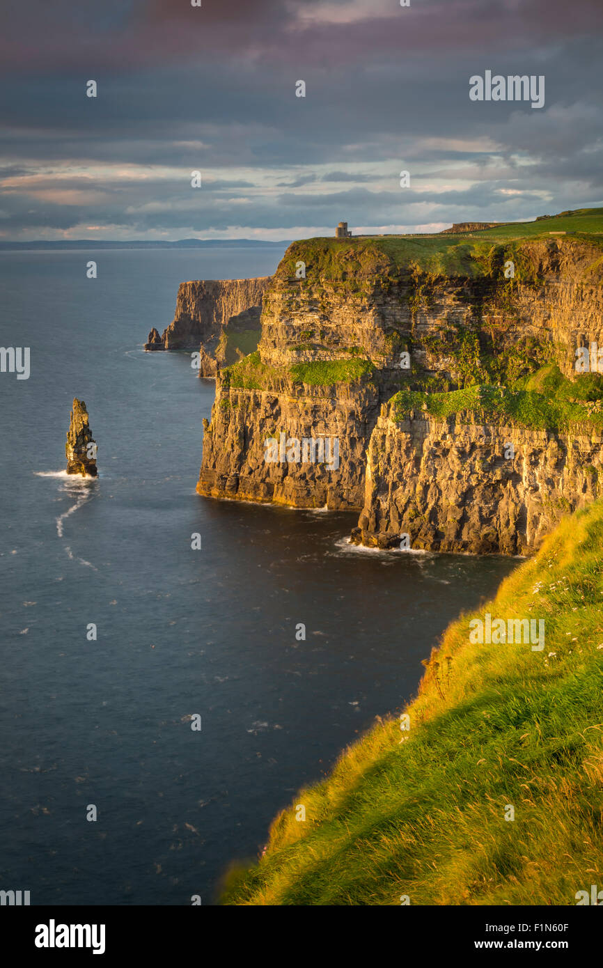 Setting sunlight over Cliffs of Moher , County Clare, Republic of Ireland - Stock Image