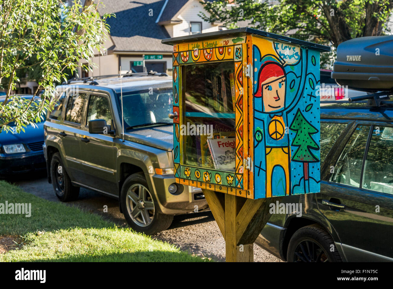 Little Free Library Book Box, Calgary, Alberta, Canada - Stock Image
