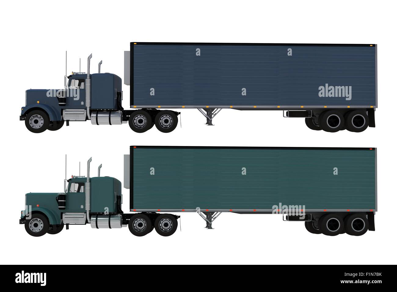 Two Trucks Side View Isolated on Solid White Background  Dark Blue
