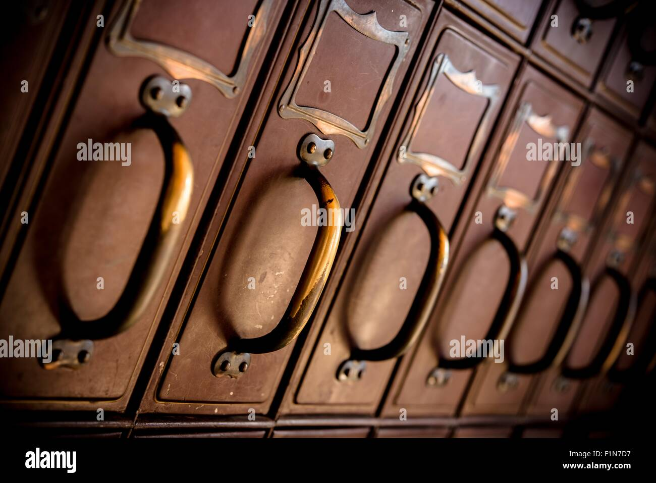 Aged Vintage American West Postal Office  Boxes. - Stock Image