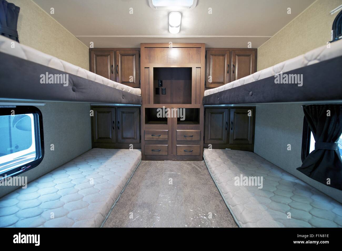 Travel Trailers With Bunk Beds Rv Sleeping Area Stock Photo