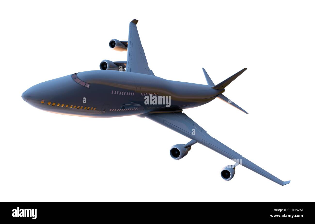 Airplane Isolated on White. Commercial Airliner on White. - Stock Image
