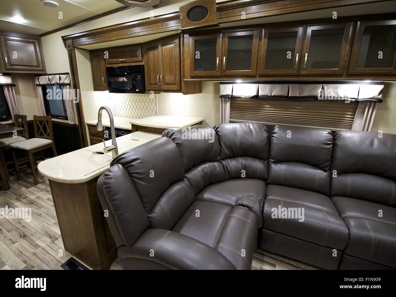 Recreation Vehicle Interior. Travel Trailer Modern Interior Stock ...
