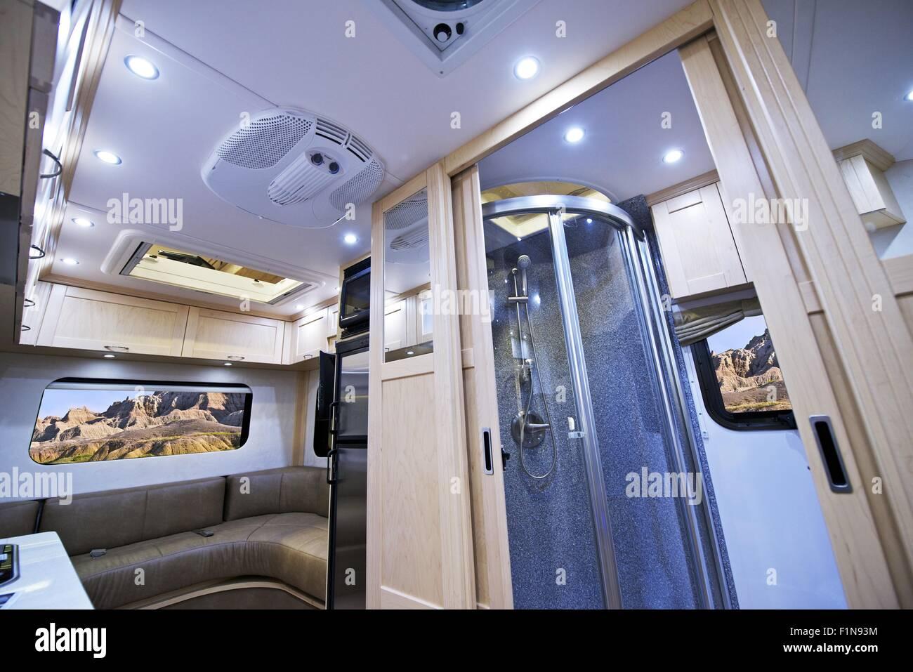 Motorhome Interior Small Bathroom With Shower And Sleeping Area Class B