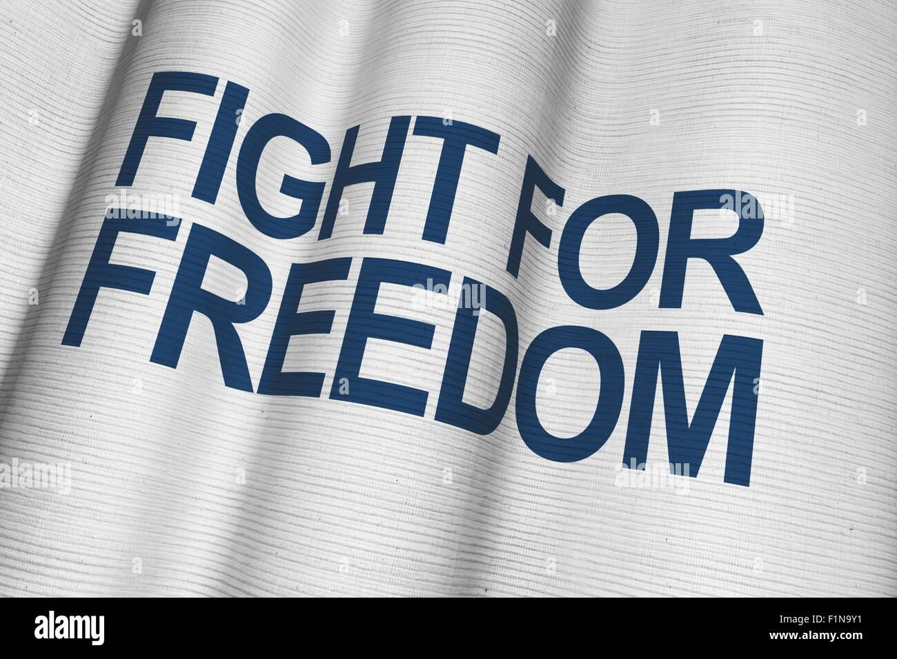 Fight For Freedom White Canvas Flag with Dark Blue Lettering. - Stock Image