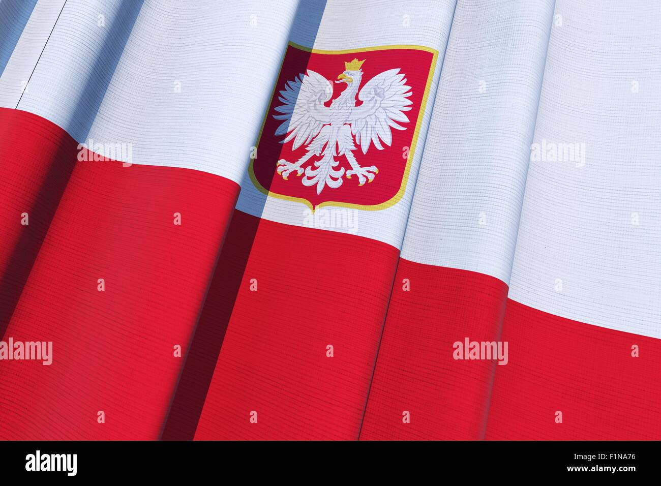republic of poland flag polish national flag on canvas 3d stock