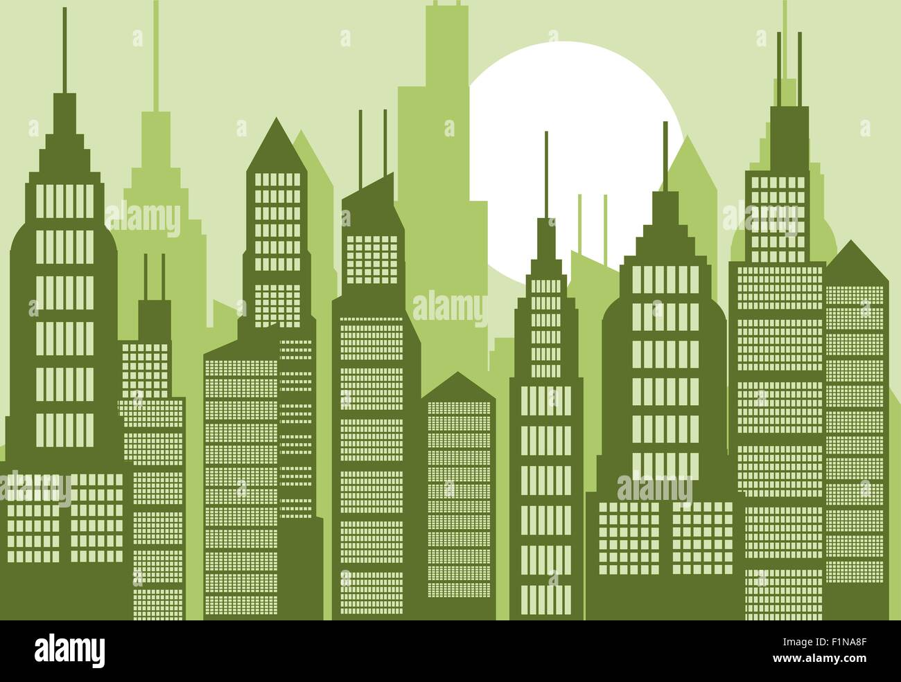 cartoon abstract city illustration with many buildings and stock