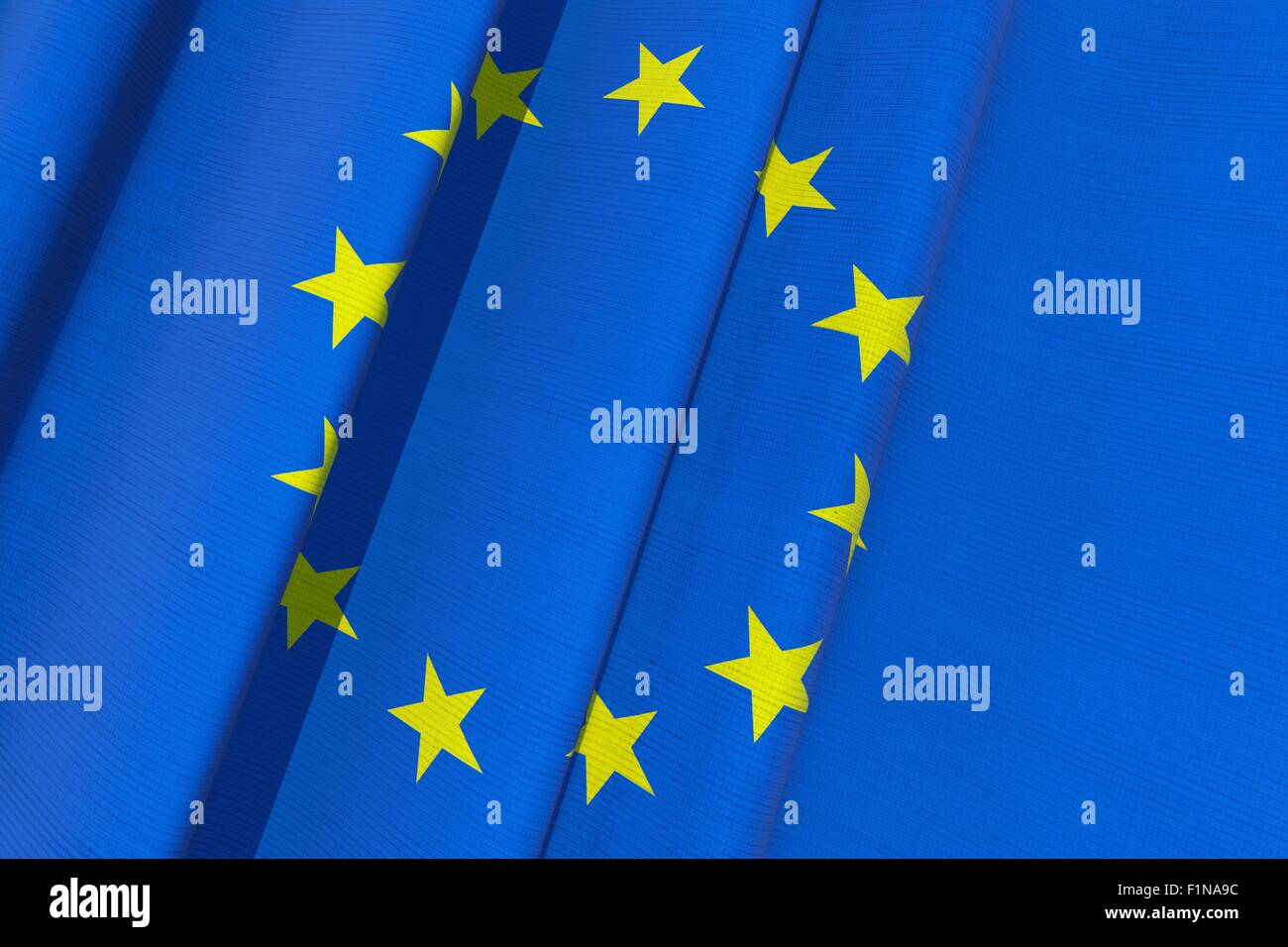 European Union 3D Flag Illustration. Waving European Union Flag. - Stock Image