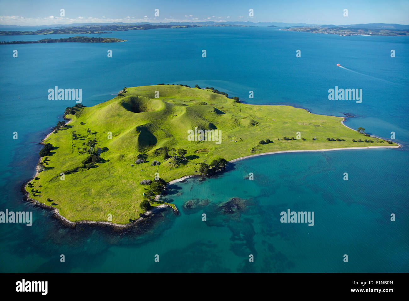 Volcanic craters on Browns Island, or Motukorea, Hauraki Gulf, Auckland, North Island, New Zealand - aerial - Stock Image