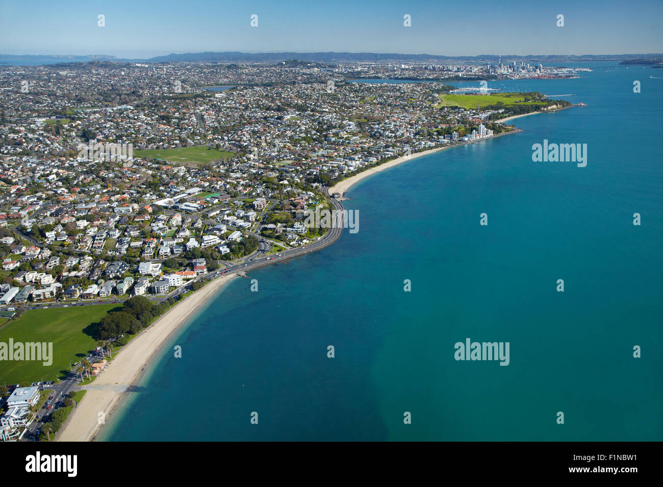 Auckland new zealand mission bay beach stock photos - Mission bay swimming pool auckland ...