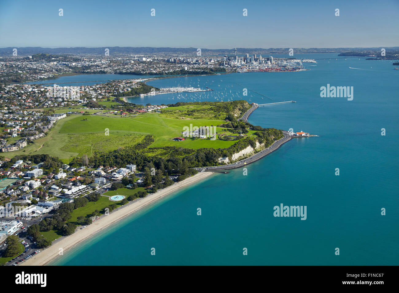 Mission Bay, and Bastion Point, Auckland, North Island, New Zealand - aerial - Stock Image