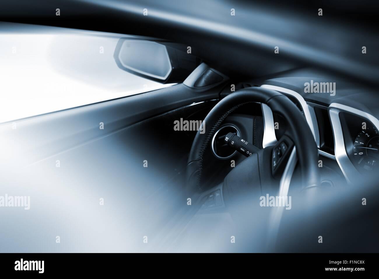 Car Driving Theme Modern Car Cockpit Photo Taken Through Sunroof Stock Photo Alamy