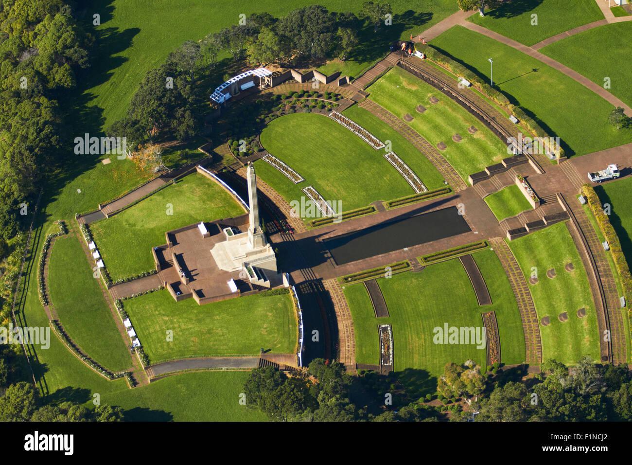 Michael Joseph Savage Memorial, Bastion Point, Auckland, North Island, New Zealand - aerial - Stock Image