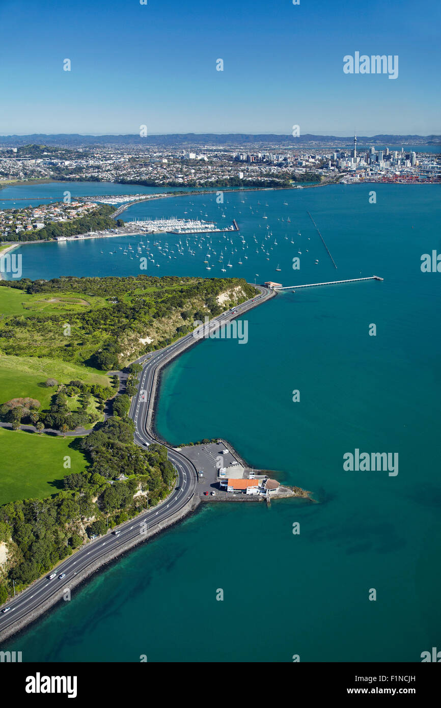Bastion Point, Auckland, North Island, New Zealand - aerial - Stock Image