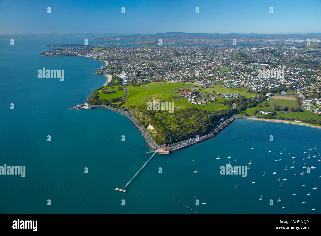 Orakei Wharf and Bastion Point, Auckland, North Island, New Zealand - aerial - Stock Image