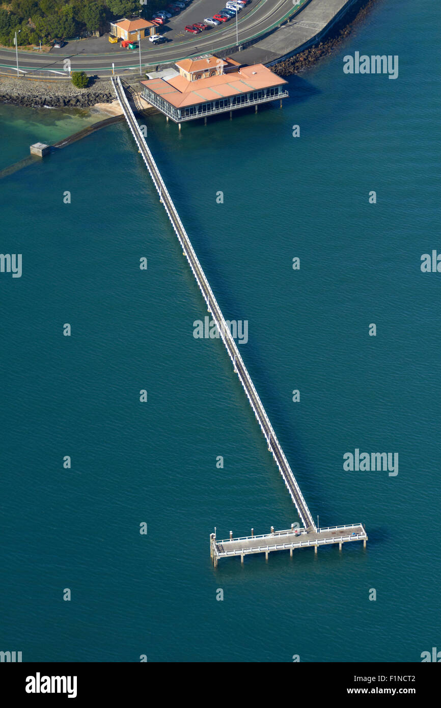Jetty at Bastion Point, Auckland, North Island, New Zealand - aerial - Stock Image