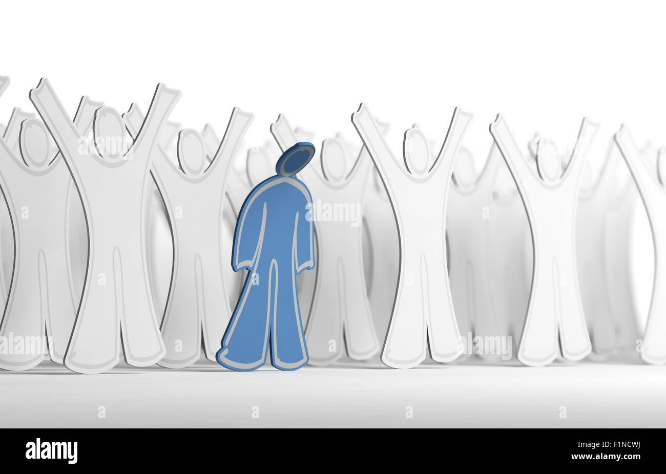 Many white character with arms raised and one blue person with his arms down. Conceptual illustration symbol of - Stock Image