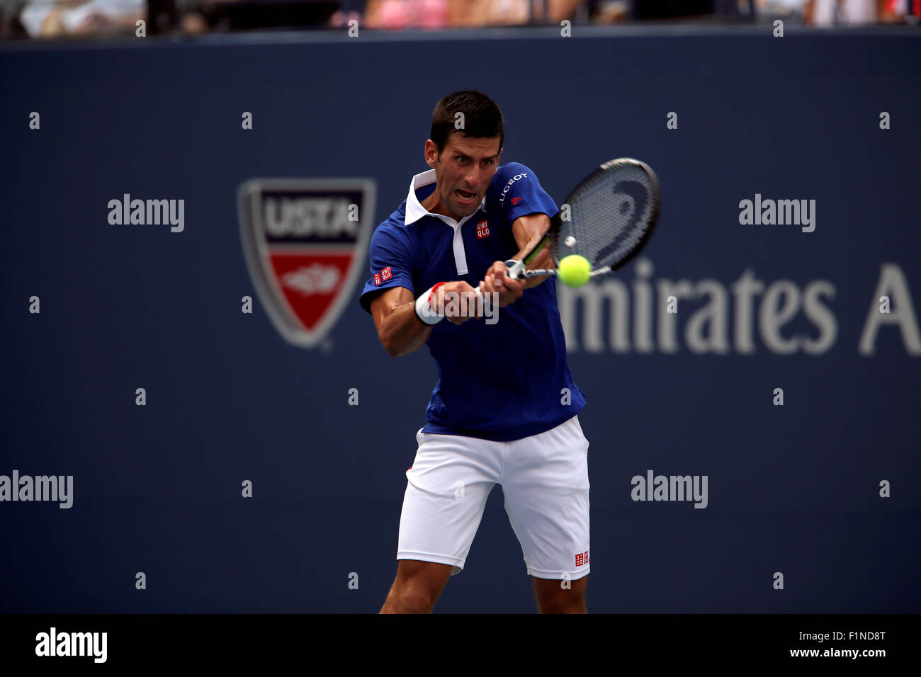 New York, USA. 4th September, 2015. Novak Djokovic during his third round match against Andreas Seppi of Italy at - Stock Image