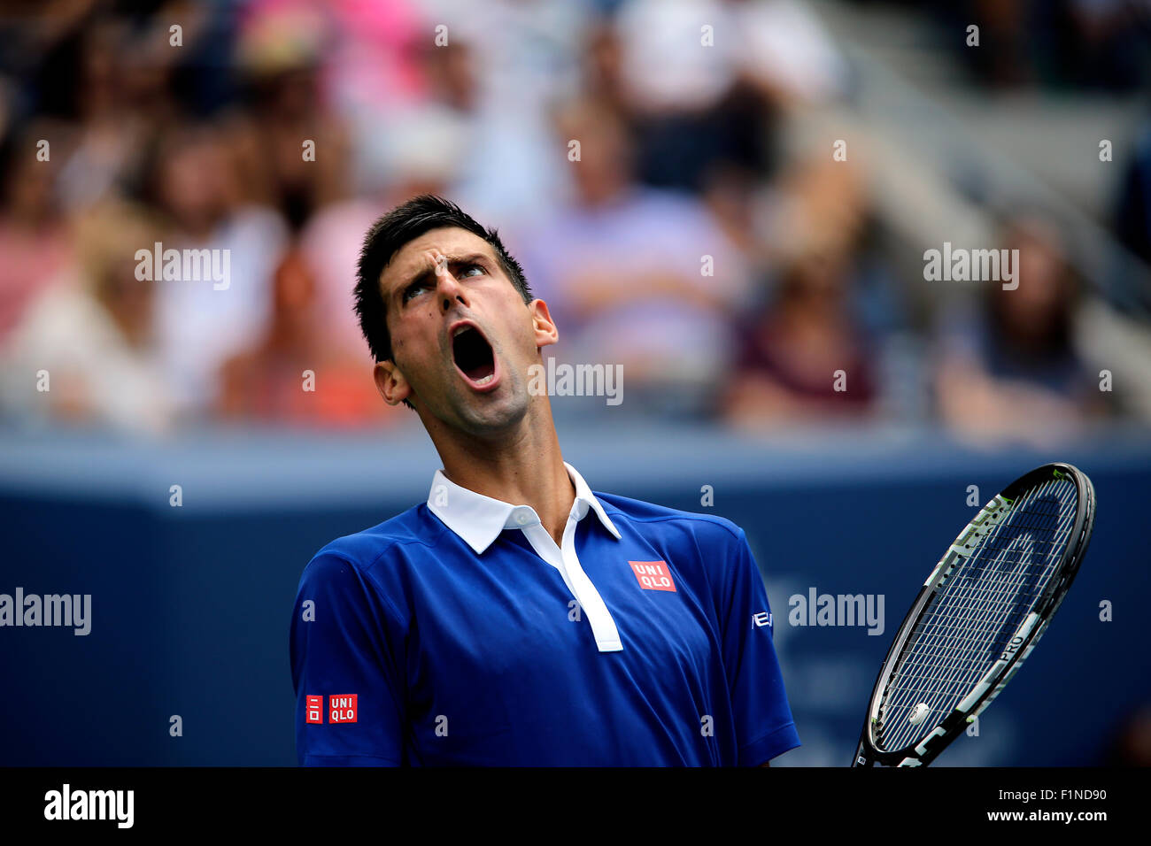New York, USA. 4th September, 2015. Novak Djokovic reacts to a shot during his third round match against Andreas - Stock Image