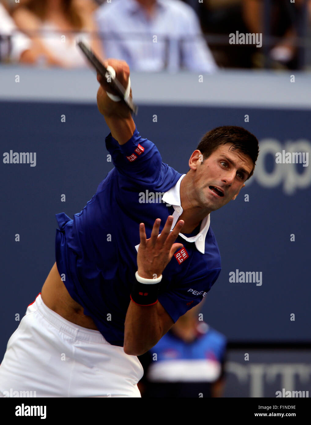 New York, USA. 4th September, 2015. Novak Djokovic serving during his third round match against Andreas Seppi of - Stock Image