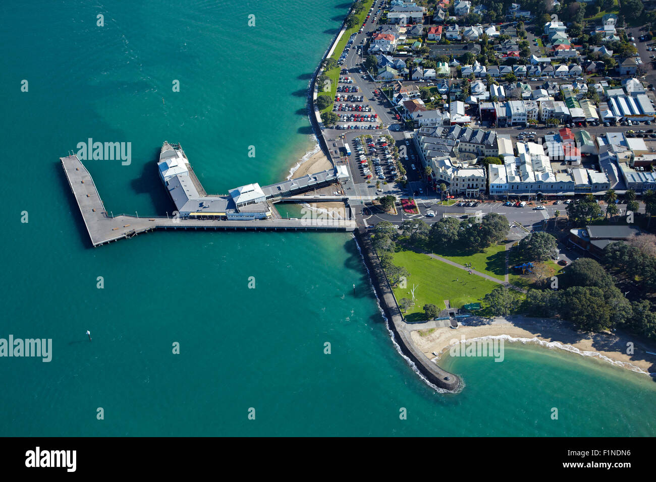 Ferry terminal, Devonport, Auckland, North Island, New Zealand - aerial - Stock Image