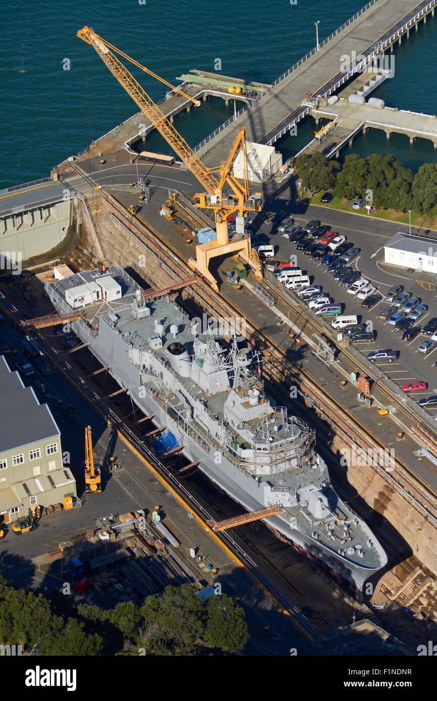 NZ Navy Frigate Te Mana in historic Calliope Dry Dock (built 1888), Devonport Naval Base, Auckland, New Zealand Stock Photo