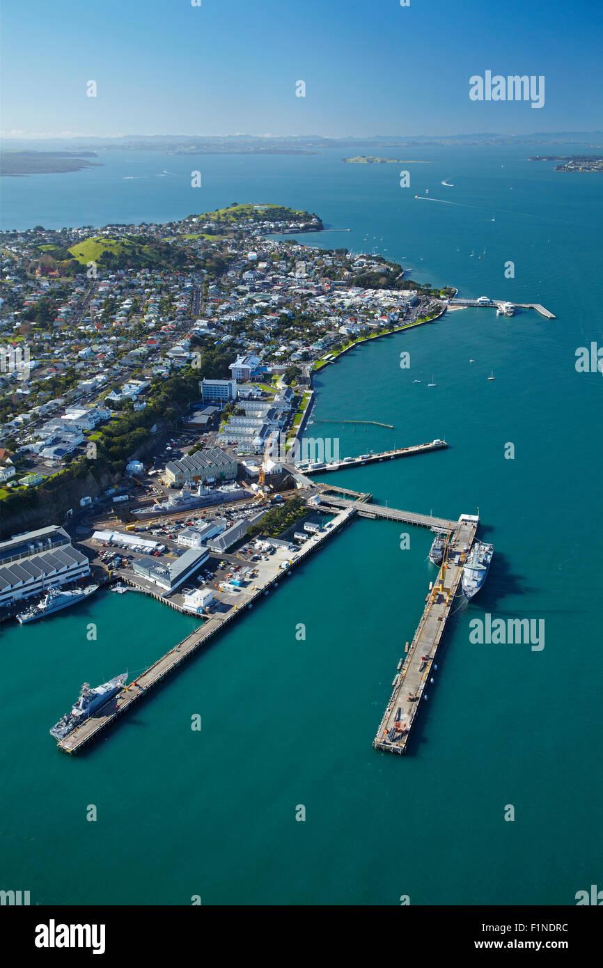 Devonport Naval Base, Auckland, North Island, New Zealand - aerial - Stock Image
