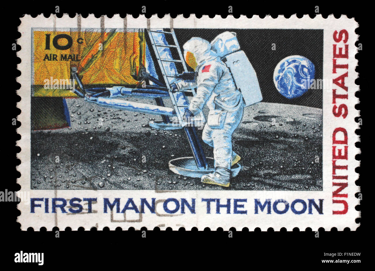 Stamp printed in USA shows Astronaut Neil Armstrong on the Moon, circa 1969 Stock Photo