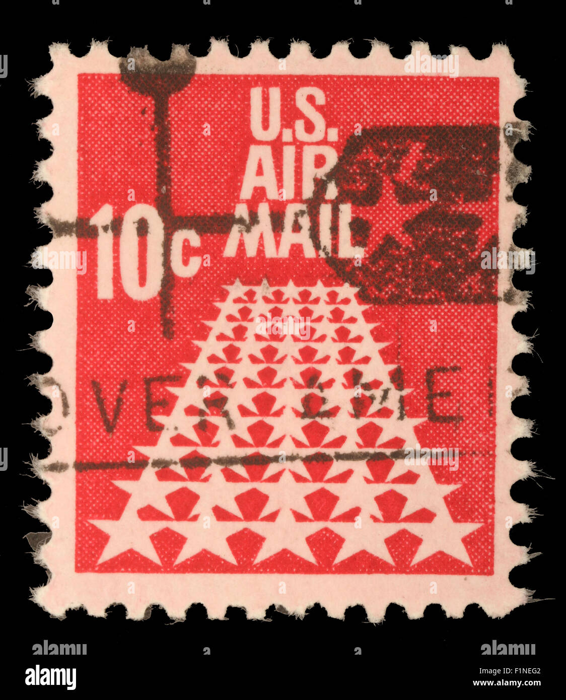 United States Postage Stamp In The Value Of 10c Used For Overseas Air Mail Deliveries Showing Symbols Circa 1968