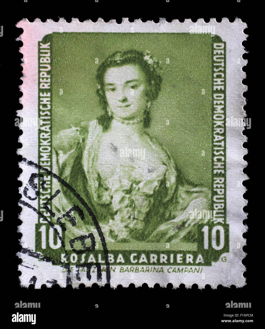 Stamp printed in DDR shows the painting Portrait of the dancer Barbarina Campani, by Rosalba Carriera, circa 1957. - Stock Image
