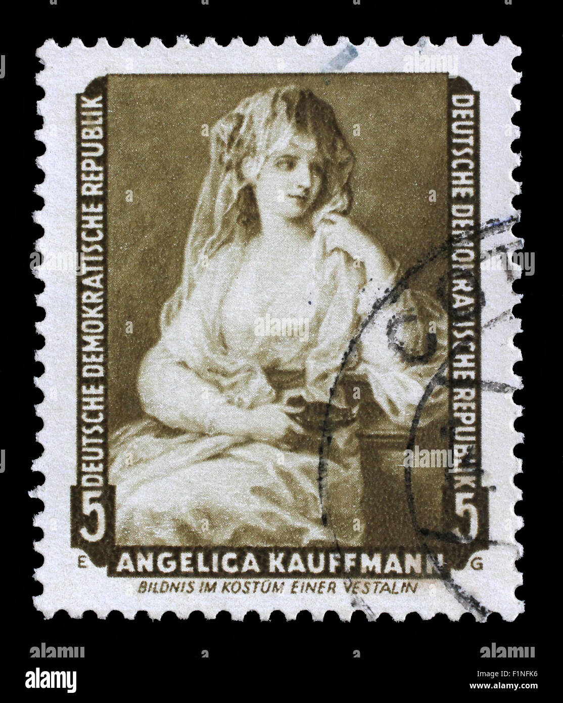 Stamp printed in DDR shows the painting Portrait of a Lady as a Vestal Virgin, by Angelica Kauffmann, circa 1957. - Stock Image