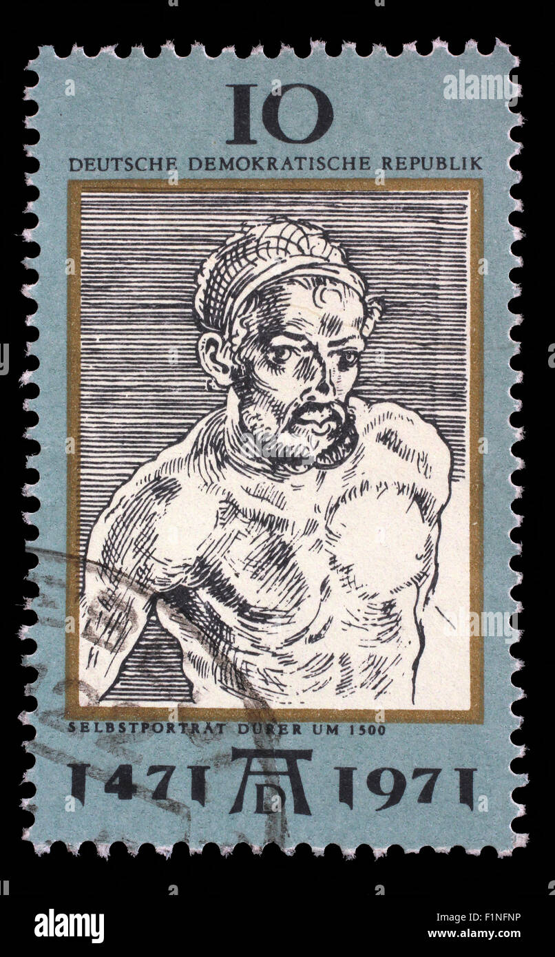 Stamp printed in DDR shows Self-Portrait, by Durer, 500th anniversary of the birth of Albrecht Durer, circa 1971 - Stock Image