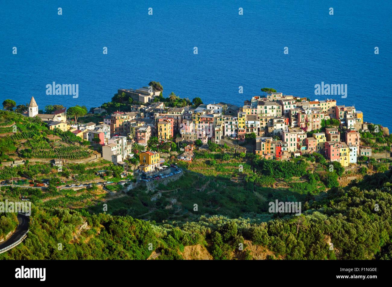 Corniglia Cinque Terre (Italian Riviera Liguria) and sea Stock Photo