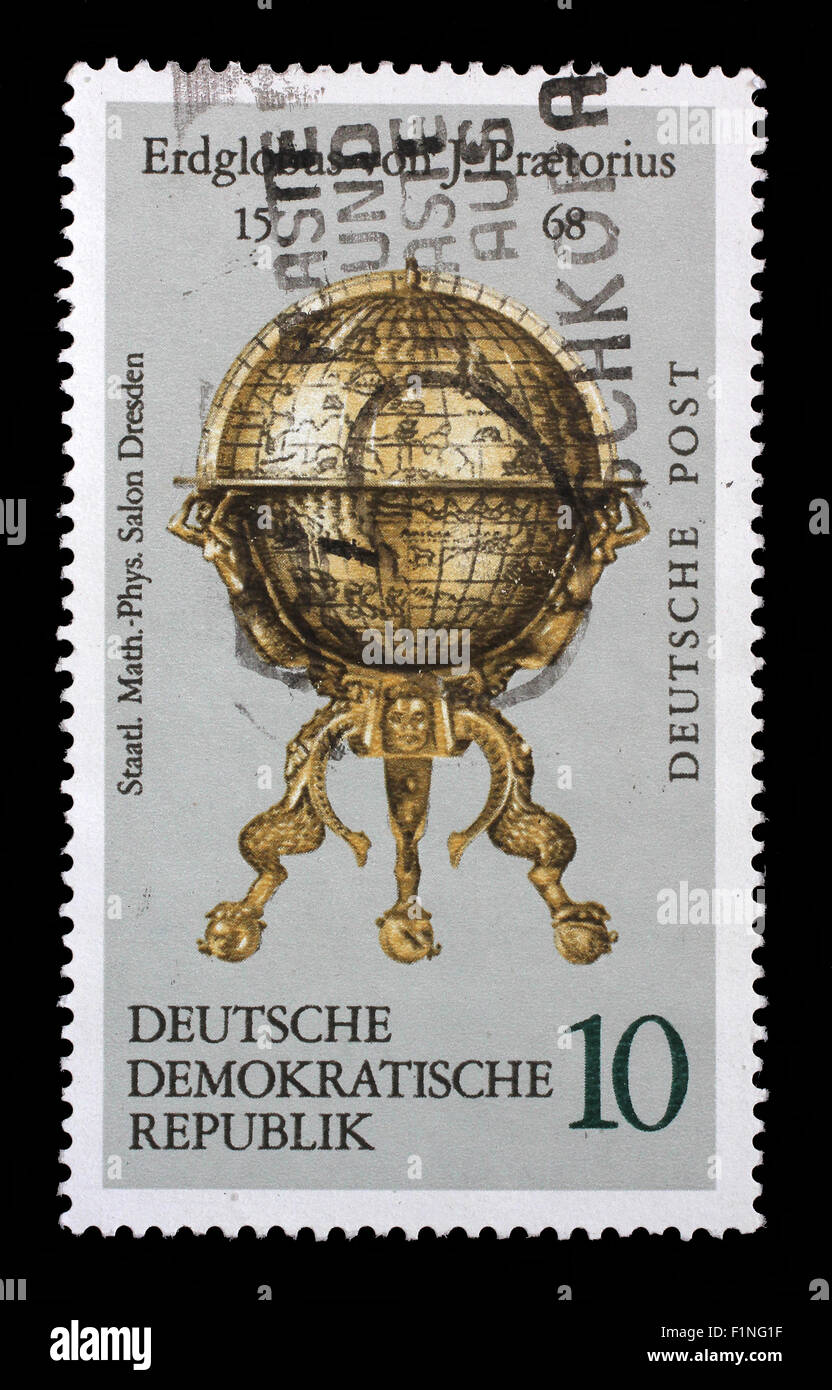 Stamp printed in the DDR (East Germany) shows vintage globe, circa 1972 - Stock Image