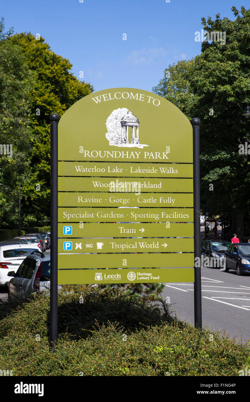 Roundhay Park, Leeds.  Sign outside Roundhay Park in Leeds Stock Photo