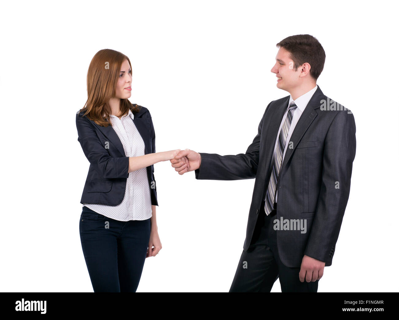 Introduction of male and female business people - Stock Image