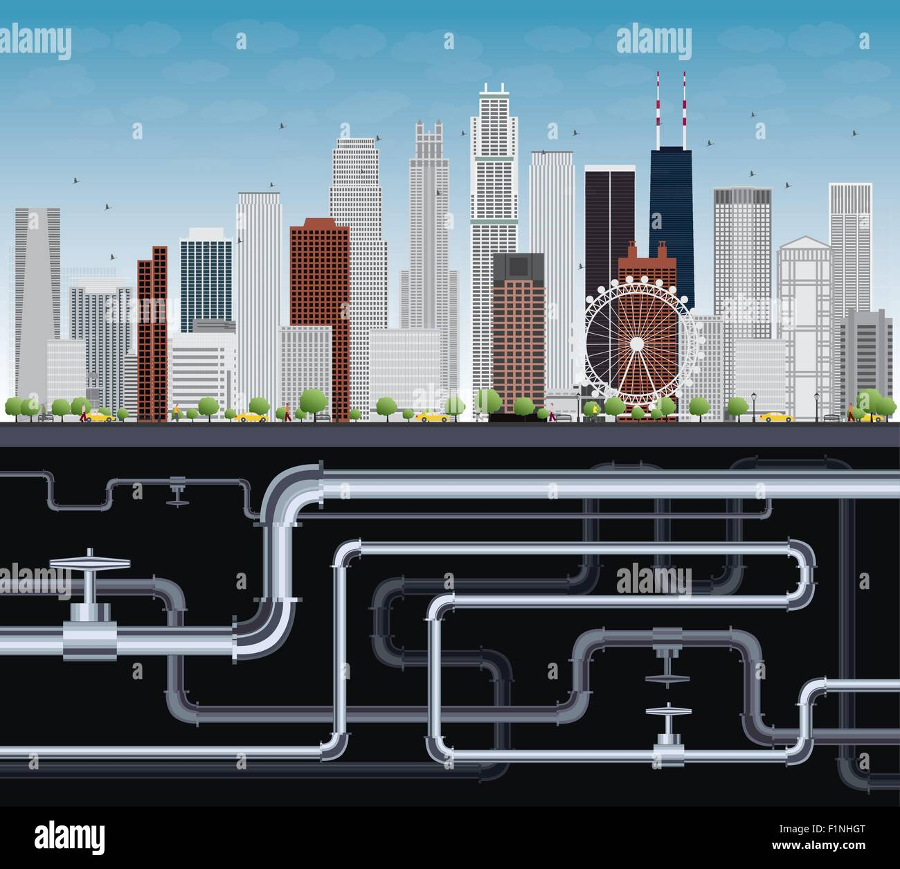 Imaginary Big City with Skyscrapers, Blue Sky, Trees and Tubes. Vector Illustration - Stock Vector