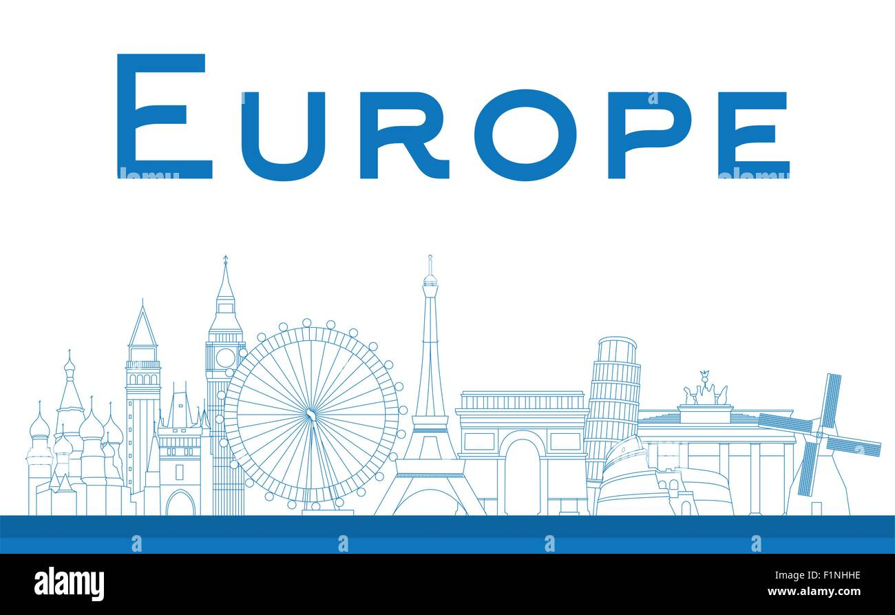 Famous landmarks in Europe. Outline Vector illustration - Stock Vector