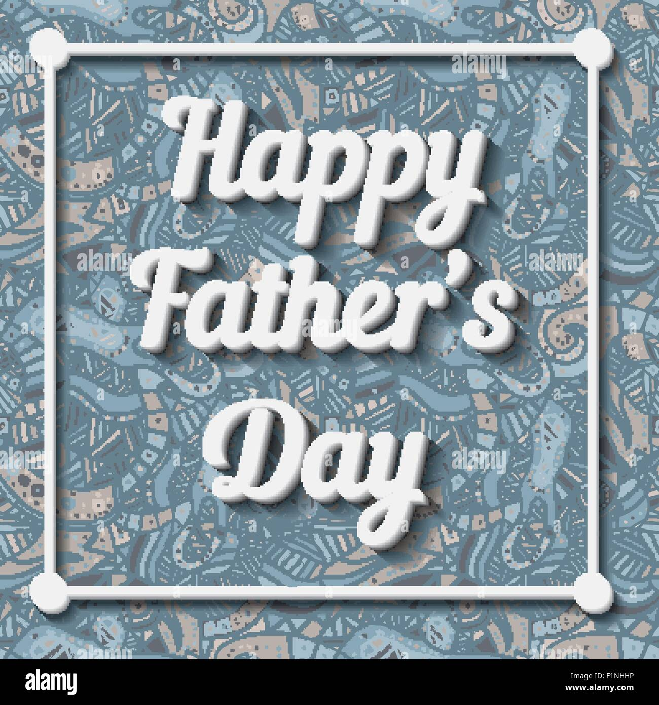 Happy Father's Day Typographical Background with doodle pattern. Vector illustration - Stock Image
