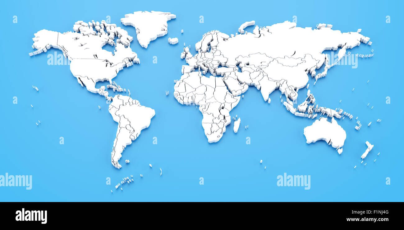 Detail world map with national borders, 3d render - Stock Image