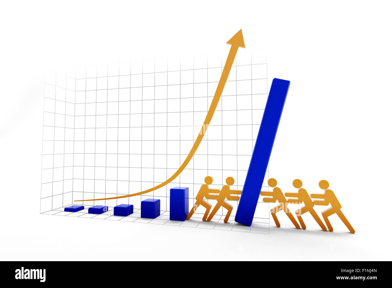 Rising vs falling trend - Stock Image
