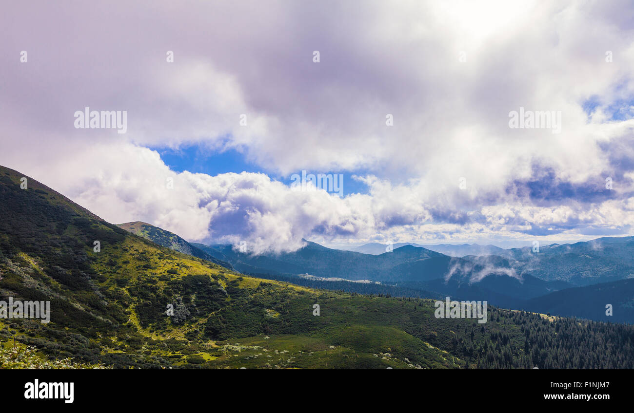 summer landscape of the Montenegrin ridge in Carpathians Stock Photo