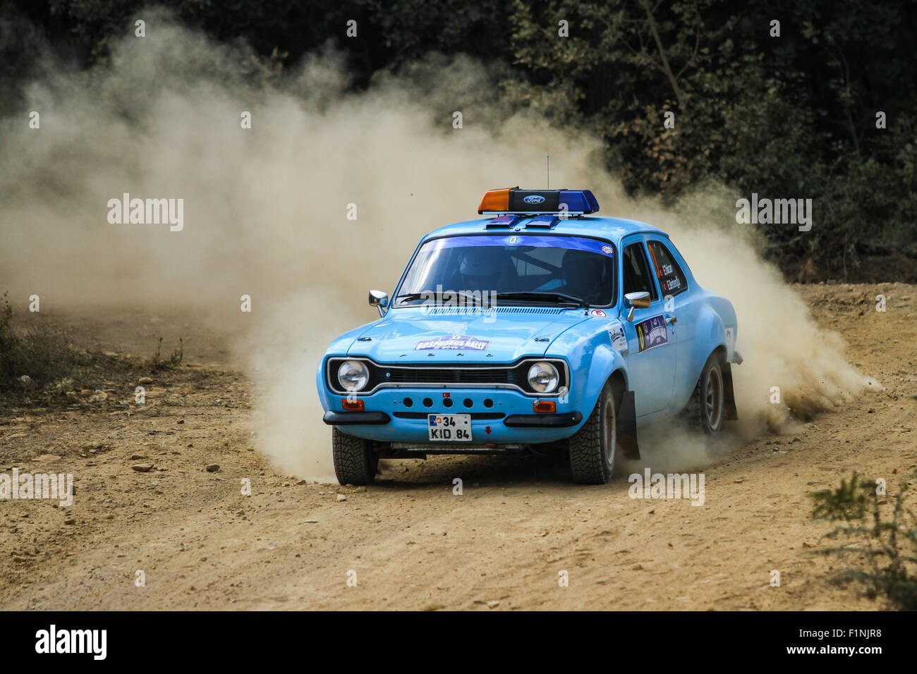 ISTANBUL, TURKEY - JULY 25, 2015: Ercan Tokcan drives safety car of Bosphorus Rally 2015, Mudarli stage - Stock Image