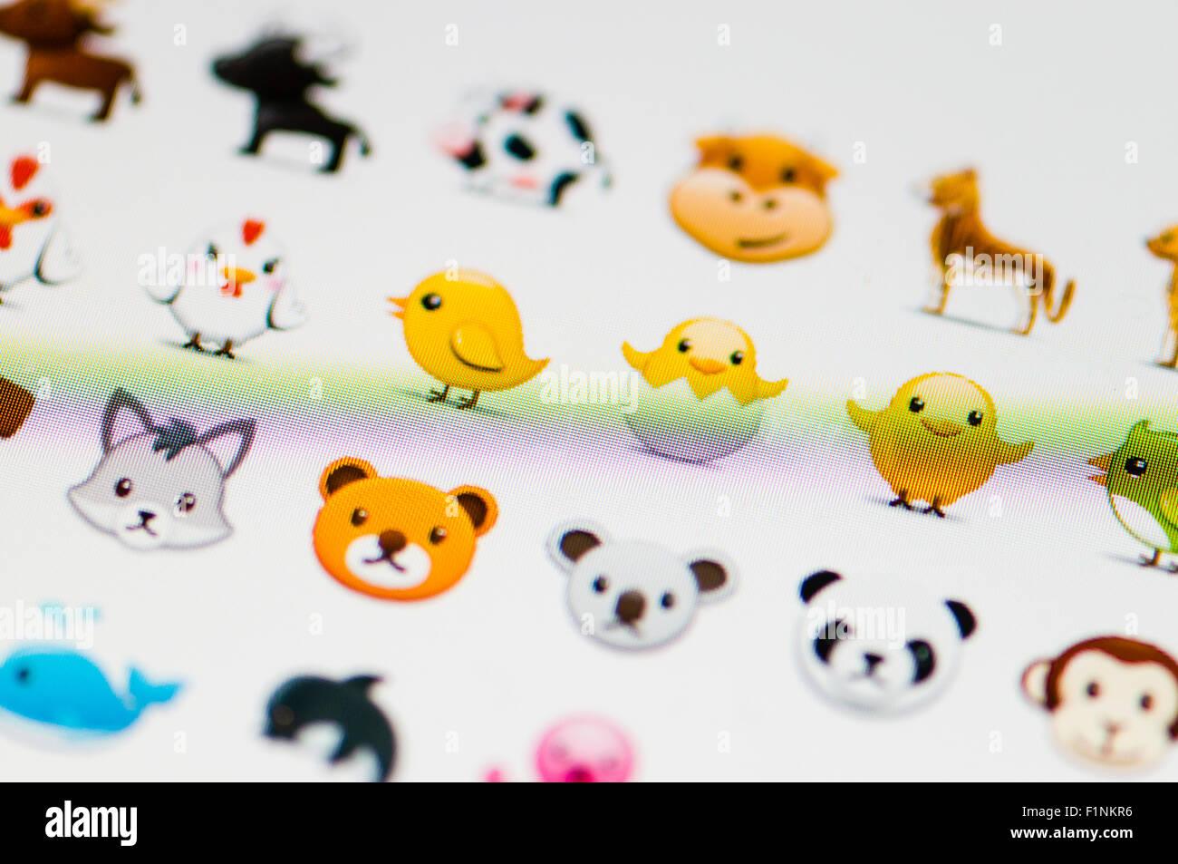 Screen displaying a range of animal emojis - Stock Image